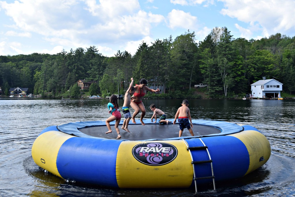 jumping on water trampoline
