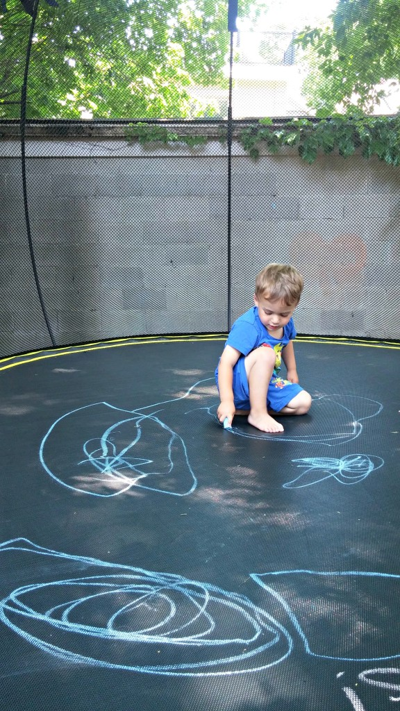 springfree chalk on trampoline